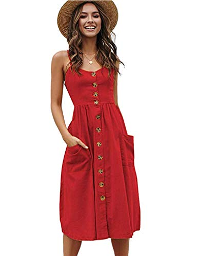 Womens Sundresses Summer Spaghetti Strap Front Button Swing Midi Dress with Pockets Red M