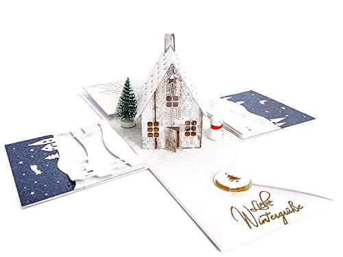 Feierliche Weihnachtsbox Aurora - Handgemachte Geschenkverpackung Weihnachten - Winterliche Geschenkkarte Geschenk-Box zum Aufklappen - Explosionsbox Gift Box Gutscheine & Geldgeschenke Weihnachtsfest