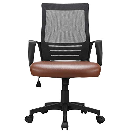 YAHEETECH Mid Back Executive Office Chair Computer Task Chair with Armrests Ergonomic Leather-Padded Desk Chair with Lumbar Support, Brown