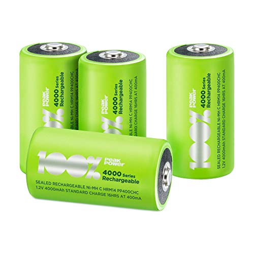 100% PeakPower Akku C, 4 Stück LR14 Akkus, NiMH Akku-Batterien mit LSD Technologie, Ready2Use, bereits vorgeladen, Typ Babyzelle / HR14 wiederaufladbar, Kapazität 4000mAh, 1,2V