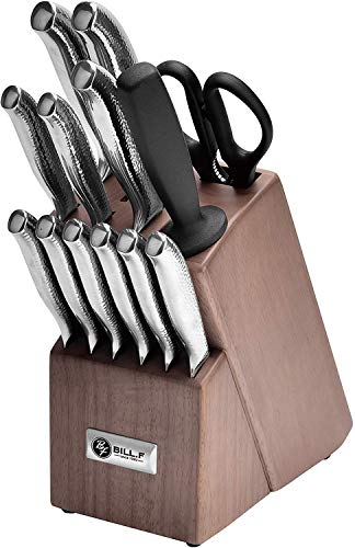Bill.F 14 Pieces Kitchen Knife Set with Block and Sharpener, Professional Stainless Steel Knives Kitchen Set with Vertical Non-Slip Hollow Handle Including Scissors