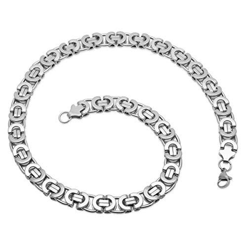 Soul-Cats® Flache Königskette/Panzerkette/Herren-Kette aus Edelstahl in Silber, Breite: 12 mm, Länge ca. 60 cm