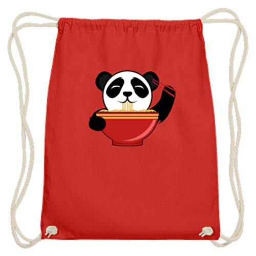 Schattige pandabeer is Chinese pasta met stokjes. Is de kleine niet om te knuffelen? - Katoen gymtas.