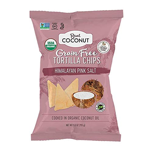 Real Coconut Gluten Free Coconut Flour Tortilla Chips, Himalayan Pink Salt, 5.5 Ounces
