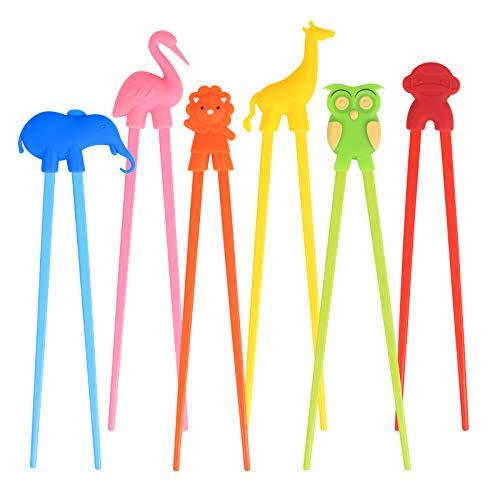 LANMOK Training Chopsticks for Children Adults,6 Pairs Children's Chopsticks Multi Animal Design Learning Chopstick Set for Kids Child Beginners Right or Left Handed Reusable Fun Helper