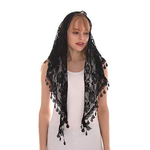 LMVERNA Lace Tassel Sheer Floral Triangle Mantilla Scarf Chiffon Printed Silk Soft Shawl Scarf (Black)