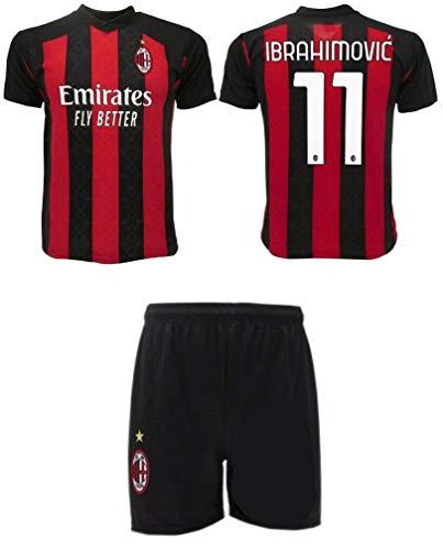 3R SPORT SRL Completo Ibrahimovic Milan Ufficiale 2020-21 Nr.11 Bambino Uomo Adulto Zlatan Maglia + Pantaloncini Pantaloncino Completino Home (L)