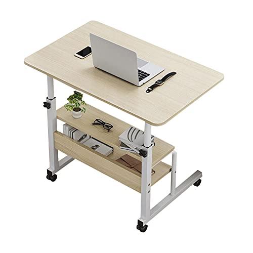 Mesa de Ordenador Portátil con Ruedas,Altura Ajustable Carrito de Mesas Auxiliares Portátil Soporte de Trabajo Escritorio Lateral Móvil (Color : Brushed Oak, Size : 60x40CM)