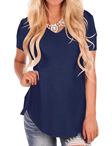 NIASHOT Women's Summer Short Sleeve Casual Loose Cotton T-Shirt Navy S