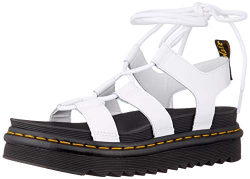 Dr. Martens Women's Gladiator with Ankle-tie Sandal, White, 8