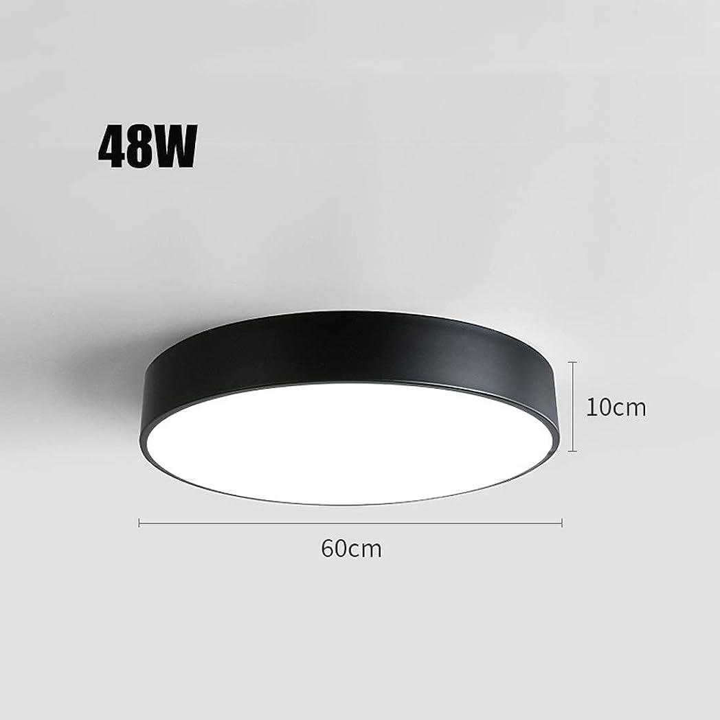 カリングトレード分DULG LEDフラッシュマウントシーリングライト、ウルトラスリムラウンドLED照明器具、2000ルーメン、6000K昼白色のリビングルーム、ベッドルーム、バスルーム、キッチン、廊下学習通路ランプ北ヨーロッパ (Color : Black-White light, Size : 48W)