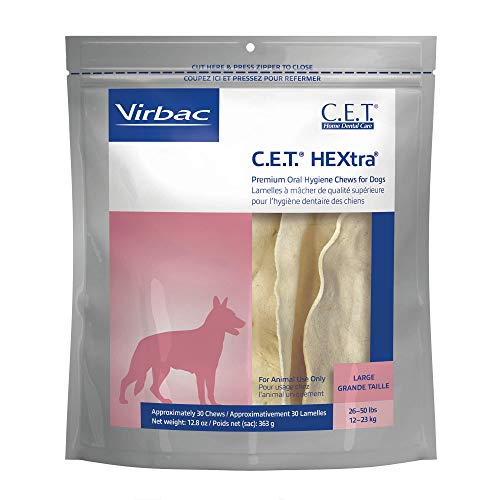 virbac dental chews for dogs Virbac CET HEXtra Premium Oral Hygiene Chews for Dogs, Large