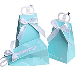 Creative Wedding Diamond Ring Shaped Gift Favor Boxes for Candy Chocolate Guests Bridal Shower Party Light Blue Pack of 50pcs