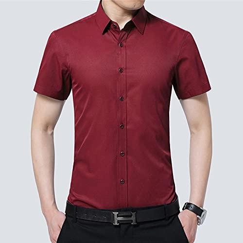 WQDS Camisa de Verano Camisa de Manga sólida de Color sólido para Hombre Camisa para Hombre-Vino Tinto_4XL