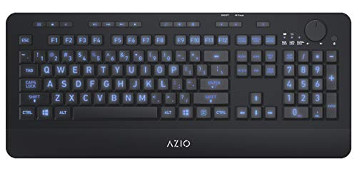 Azio Wireless Keyboard with Large Print Keys, Blue Color Backlight, 2.4gHz USB-RF Rechargeable and Multimedia Productivity Hotkeys (Vision Series KB510W)
