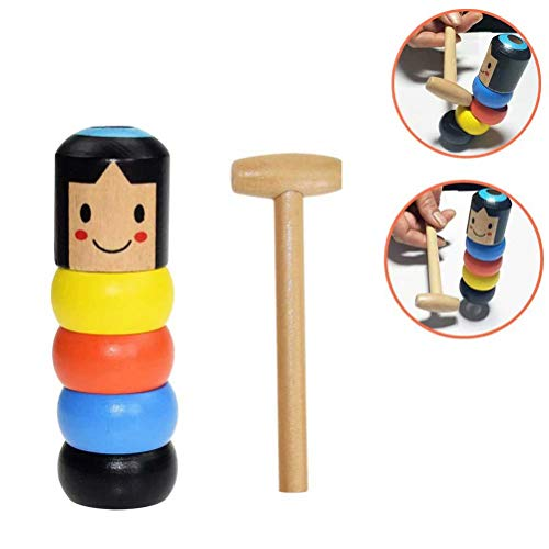 Eforoutdoor Unbreakable Wooden Man Magic Toy, Stubborn Wood Man Magic Tricks Props Toys for Children Kids Halloween Christmas New Funny Wooden Magic Toys Gift