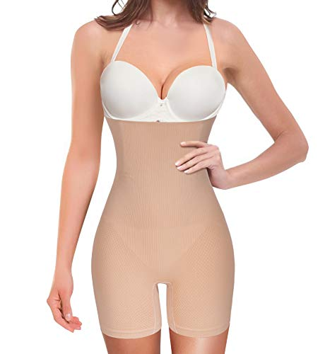 Nebility Women Waist Trainer Shapewear Tummy Control Body Shaper Shorts Hi-Waist Butt Lifter Thigh Slimmer (M/L, Beige)