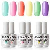 Gellen Gel Nail Polish Set - Bright Cute Sweet Candy 6 Colors , Happy Nail Art Neon Colors UV LED Home Gel Manicure Kit