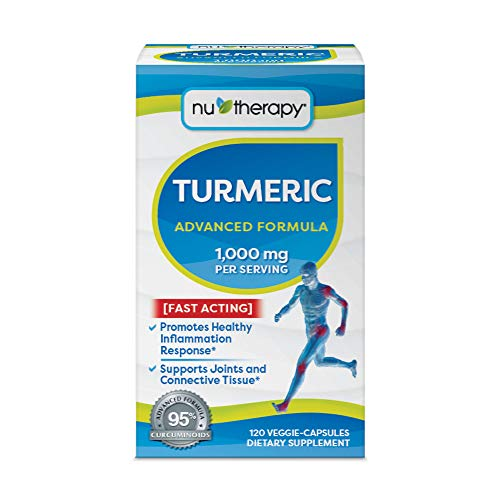 Nu-Therapy Turmeric Advanced Formula Dietary Supplement, Fast Acting, 1000 mg per Serving, 120 Veggie Capsules