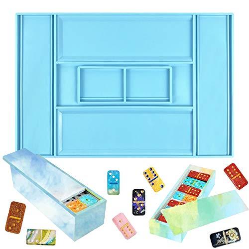 Molde de caja de almacenamiento de dominó Caja de dominó Molde de silicona Molde resina Molde para manualidades de dominó de bricolaje Caja de regalos