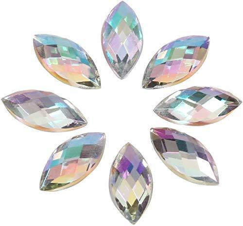 500 Piezas de diamantes de Imitación de Cristal Acrílico con Forma de Ojo de Caballo, Parte Trasera Plana, Para Collar o Ropa, decoración de Vestido de Boda, 7 x 15 mm Color Blanco Claro AB
