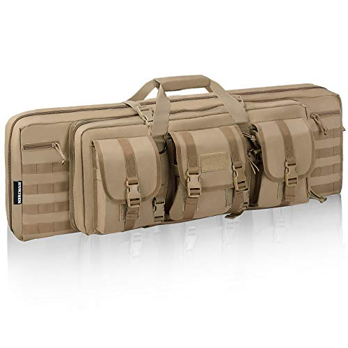 HUNTSEN Tactical Double Long Rifle Pistol Gun Bag Firearm Transportation Case Double Rifle Bag Outdoor Tactical Carbine Cases Water Dust Resistant Long Gun Case Bag