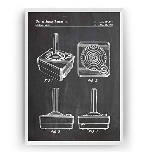 Retro Joystick 1980 Controller Patent Poster - Gamer Gaming Print Gift Vintage Blueprint Girls Boys Video Games Room Wall Art Bedroom Original Decor Merchandise Classic - Frame Not Included
