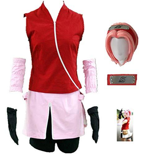 THWJSH Anime Haruno Sakura Cosplay ropa de juego, utilizado para Halloween, Navidad, carnaval, fiesta temtica Cosplay segundo-S