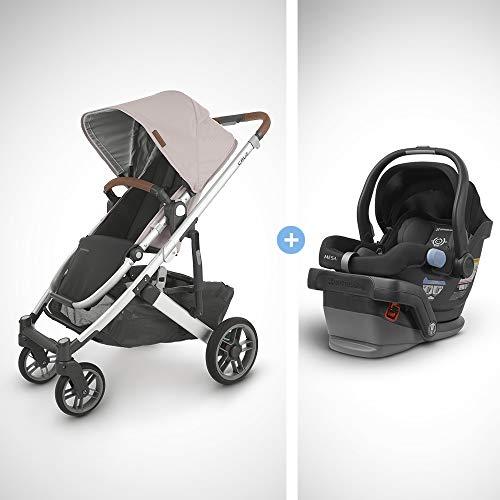 UPPAbaby Cruz V2 Stroller - Alice (Dusty Pink/Silver/Saddle Leather) + Mesa Infant Car Seat - Jake (Black)