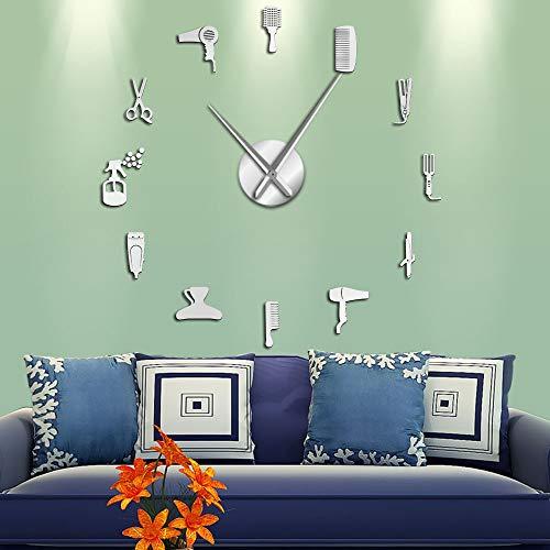 DIY Barber Shop - Reloj de pared gigante con efecto espejo, kit de herramientas de peluquería, reloj decorativo sin marco, reloj de pared de peluquería (plata, 47 pulgadas)