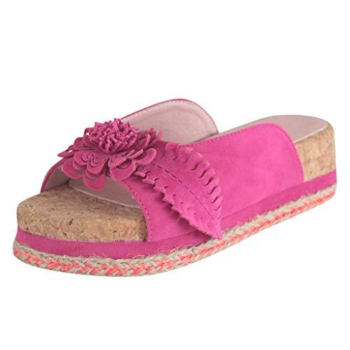 Dorical Damen Roman Slippers Espadrilles Frauen Daisy Übergrößen Flandell Wedge Peep-Toe Hausschuhe Comfort Schuhe Für Casual Strand Outdoor Garten(Z02-Rosa,41 EU)