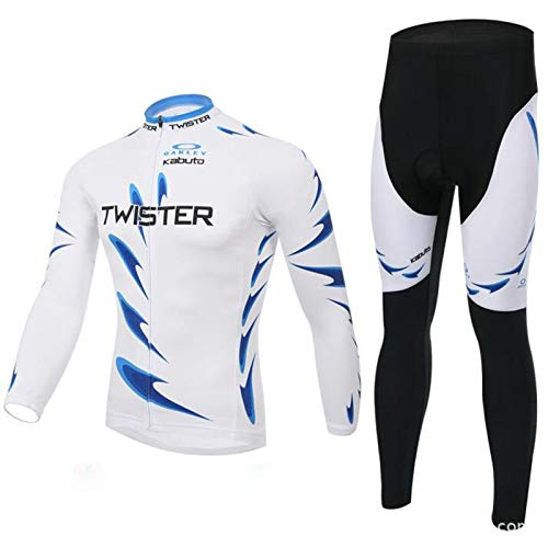 'N/A' Autumn and winter long-sleeved fleece jersey suit men's mountain bike trousers jersey suit,White,M