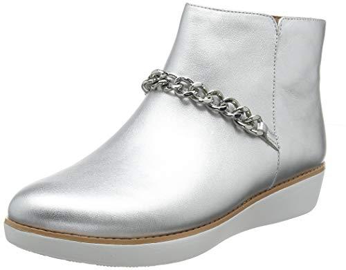 Fitflop Damen Pia Chain Metallic Kurzschaft Stiefel, Silber (Silver 011), 41 EU