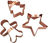 Copper Cookie Cutter Set, BONUS Handles, Fun Memories Baking In Your Home Kitchen, Modern Tools Add Vintage Charm, Set of Gingerbread Man, Star & Tree, Beautifully Gift-Boxed!
