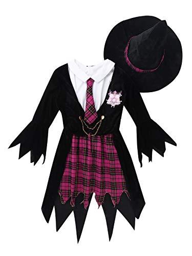 Agoky Mädchen Halloween Hexe Kostüm Outfits Set aus ärmelloses Schuluniform Kariertes Rock mit Mantel und Hut Kleidung Set Schwarz &Rose Red 116-128/6-8Jahre