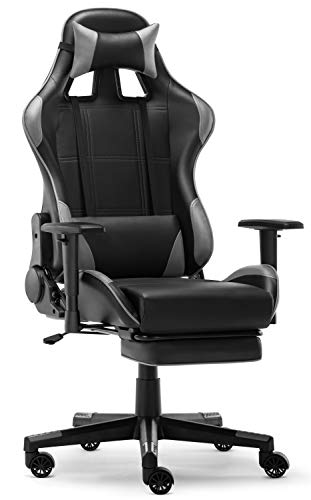 IntimaTe WM Heart Silla Gaming, Silla Gamer con Reposapies Silla Escritorio Giratoria Altura Ajustable Respaldo Inclinable hasta 135 ° PU (Gris)