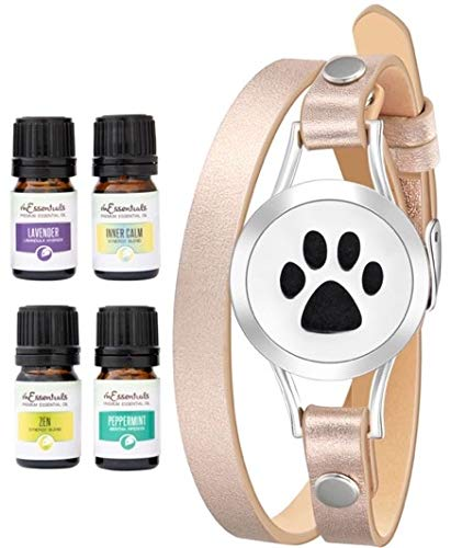 Wild Essentials Dog Paw Essential Oil Diffuser Bracelet Gift Set Includes Aromatherapy Pendant, 14.5' Leather Wrap Band, Refill Pads and 100% Pure Oils (Lavender, Peppermint, Inner Calm and Zen)