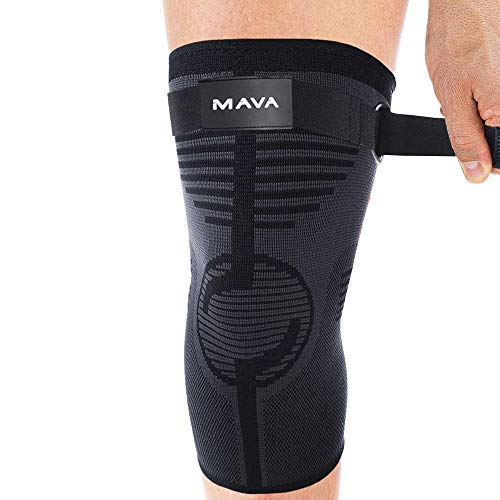 Mava Sports Knee Compression Sleeve Support with Adjustable Strap for Men and Women-Perfect for Joint Pain, Weightlifting, Running, Gym Workout, Squats and Arthritis Relief - Black, XX-Large -1pc