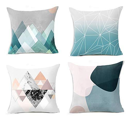 WSYW Juego de 4 fundas de cojín de algodón y lino, cuadradas, para sofá, jardín, cama, sofá, 45 x 45 cm, estilo 2
