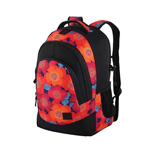 Rada Rucksack RS/2, Freizeitrucksack, DIN A4 kompatibler Schulrucksack für Mädchen und Jungen, wasserabweisender Daypack, Damen und Herren, Notebookfach bis 16 Zoll (Blumen multiflower)
