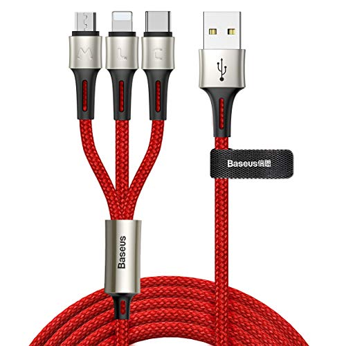 Multi USB Cable, 3 in 1 Multi Charging Cable Micro USB Type C Nylon Braided for Google Pixel/Nexus 6P 5X/Samsung Galaxy S10 S9 S8 Plus/Huawei/Honor/Xiaomi/Pads (Red)