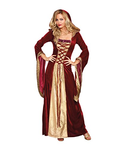 Dreamgirl Women's Lady Of Thrones Costume, Red/Gold, Small