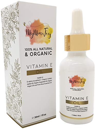 Vitamin E Oil for Skin, Face, Lip Gloss & Nails - 100% All Natural Pure & Organic - Cold Pressed - Prevents & Reduces the Appearance of Pregnancy Stretch Marks, Wrinkles, Scars, Dark Spots