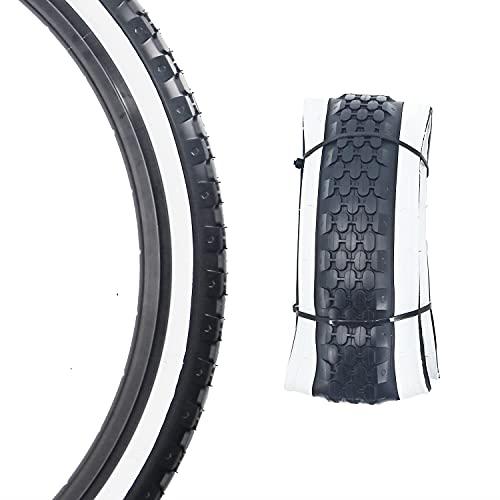 Bike Tire 26 x 2.125 Inch Folding Replacement Bike Tire for Beach Cruiser Bike (White Edge)
