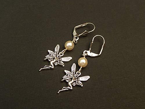 Pendientes elfos delicados con perlas de concha