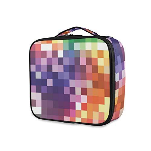 SUGARHE Imprimé carré coloré Arc-en-Ciel,Sac cosmétique Multifonctionnel La beauté