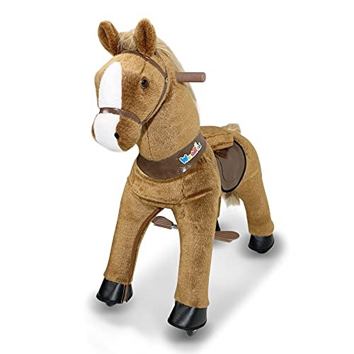 WondeRides Ride on Horse Toy Plush Walking Animal Giddy up Pony Mechanical Riding Horse with Wheels for Age 3-8