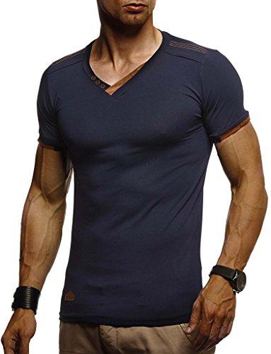 Leif Nelson Herren T-Shirt V-Ausschnitt Sweatshirt Longsleeve Basic Shirt Hoodie Slim Fit LN1355; Größe XL, Dunkel Blau