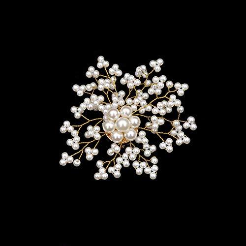 CHZDSB Brosche Gypsophila Perle Blume Broschen Für Frauen Handgemachte Hochzeit Schneeflocke Pins Sommerkleid Zubehör Tasche BroscheStil 2