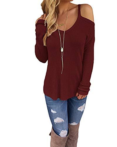 CNFIO Sexy Schulterfrei Oberteil Damen Sommer Shirt Off Shoulder Pullover für Damen Top Strickpullover V-Ausschnitt C-Wein rot EU44